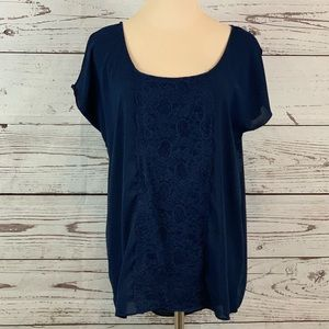 Cynthia Rowley blue tunic top blouse